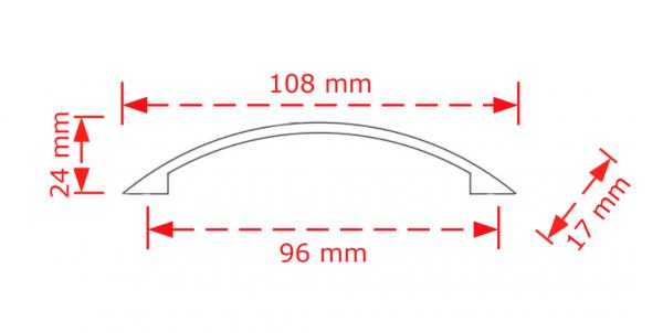 Λαβή επίπλων  νίκελ ματ  157/9,6cm viobrass