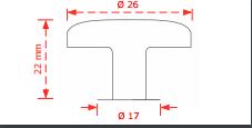 Πόμολο επίπλων  Φ26 νίκελ ματ μονό 147Α