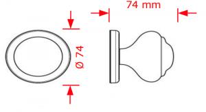 Μπούλ εξώπορτας Φ74 νίκελ ματ-χρώμιο  Νο 56
