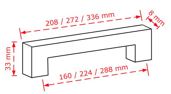 Λαβή επίπλου χρώμιο γυαλιστερό 2852  160 ή 224 ή 188mm