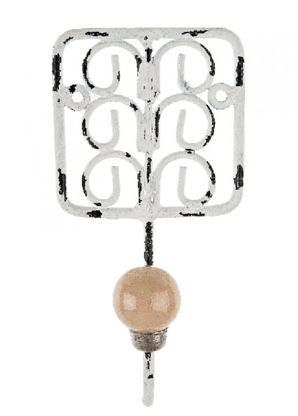 Κρεμάστρα μονή 7,5x16,0 cm λευκή πατίνα  417