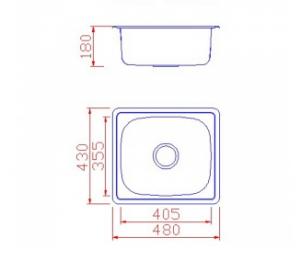 Νεροχύτης ανοξείδωτος με 1 γούρνα Β 480 X Π 430 X Υ 170   424-BL604
