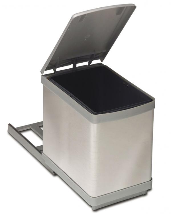 Κάδος Απορριμμάτων κουζίνας  συρόμενος inox 16lit
