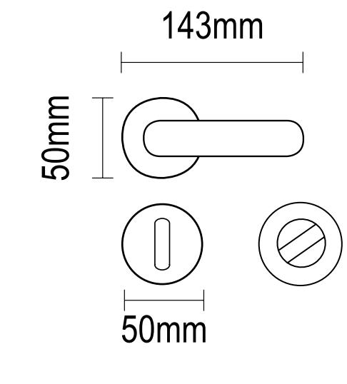 Χερούλι πόρτας ροζέτα μπρονζέ - πορσελάνη 06.960