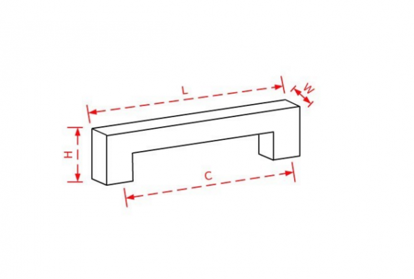 Λαβή εξώπορτας 50cm inox τετράγωνη μαύρη ματ Νο 228