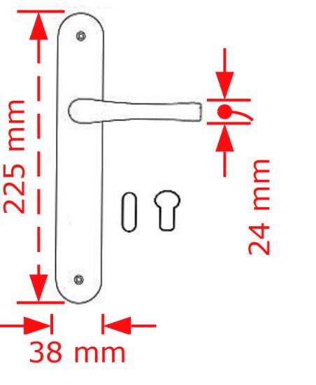 Χερούλι πόρτας πλάκα μαύρο ματ  64