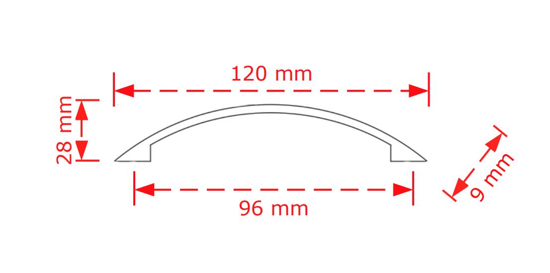 Λαβή  επίπλων μαύρο ματ 9,6cm   Νο136