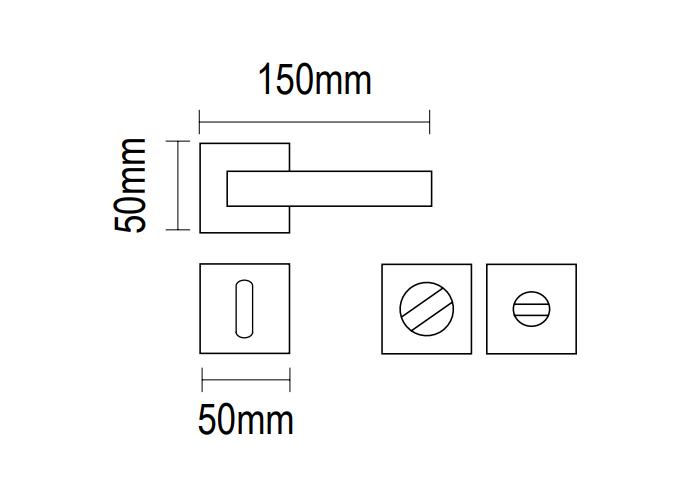 Χερούλι πόρτας ροζέτα ζάμακ νίκελ ματ  06.950 Viometal