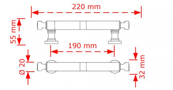 Λαβή εξώπορτας 19,0cm αντικέ ματ 124