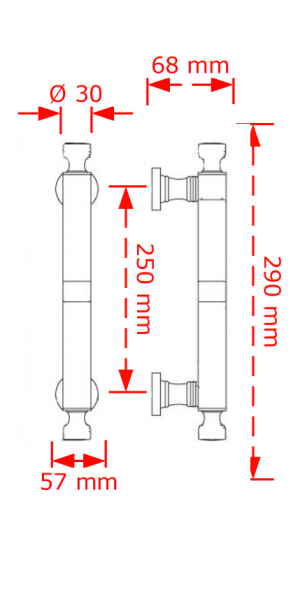 Λαβή εξώπορτας 250mm νίκελ mat  127