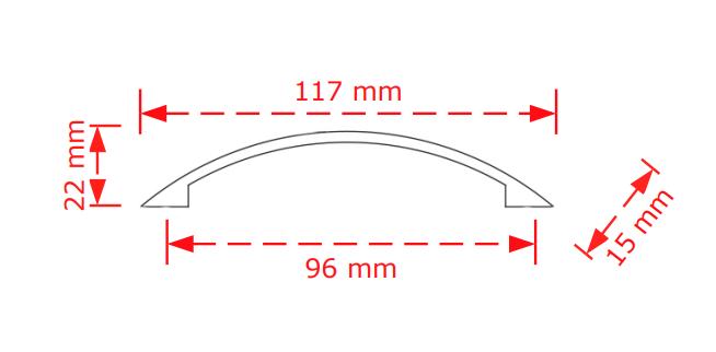 Λαβή συρταριών  νίκελ ματ   96mm   134/96