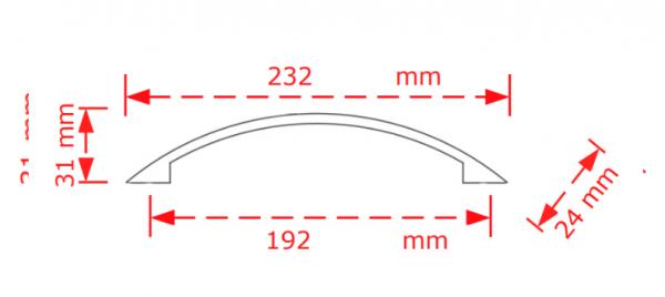 Λαβή επίπλου  19,2cm inox matt Νίκελ ματ Νο 2882