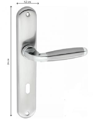 Χερούλι πόρτας πλάκα 24Χ4,2cm ζευγάρι νίκελ ματ  Z-023
