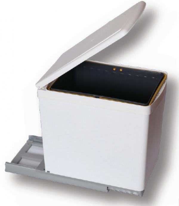 Κάδος Απορριμμάτων κουζίνας  λευκός συρόμενος πλαστικός 16lit