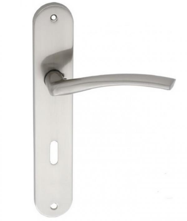 Χερούλι πόρτας πλάκα νίκελ ματ ζεύγος Ζ-021